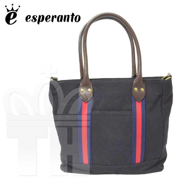 エスペラント esperanto バッグ「COTTON × LEATHER TOTE BAG Medium コットン×レザー トートバッグ (M)」ESP-6314