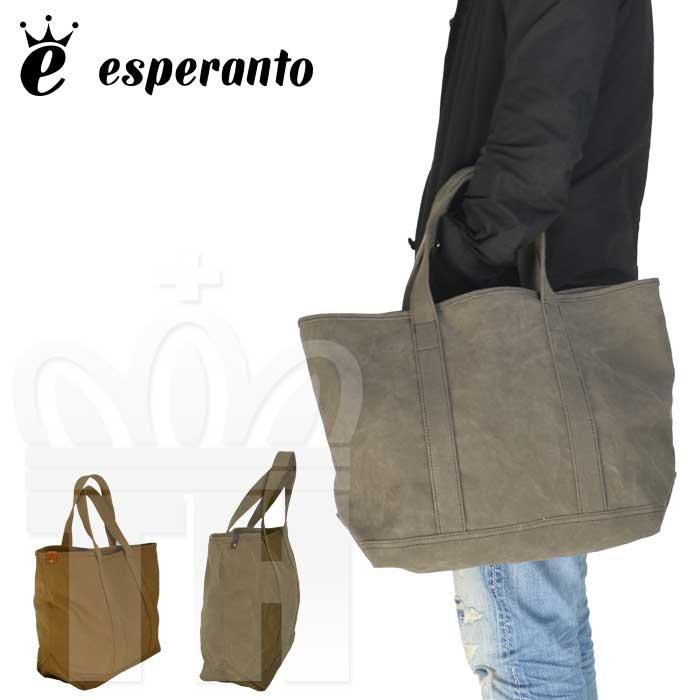 エスペラント esperanto 日本製 シンプル ベーシック かばん ハンプ素材「タンニン染め 9号帆布 トートバッグ」メンズ レディース ESP-6466