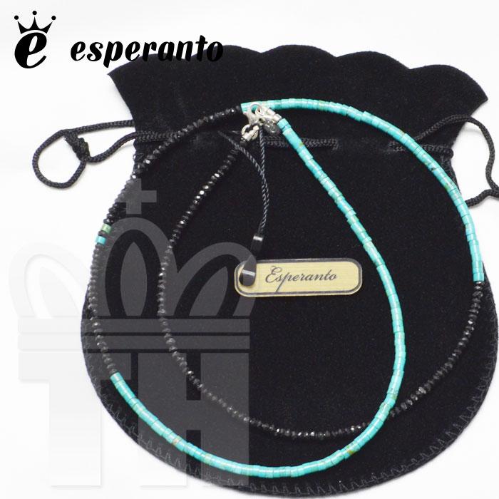 エスペラント esperanto アクセサリー ネックレス ビーズ「BLACK SPINEL & TURQOIS NECKLACE ブラックスピネル & ターコイズ ネックレス」日本製 EM-526N