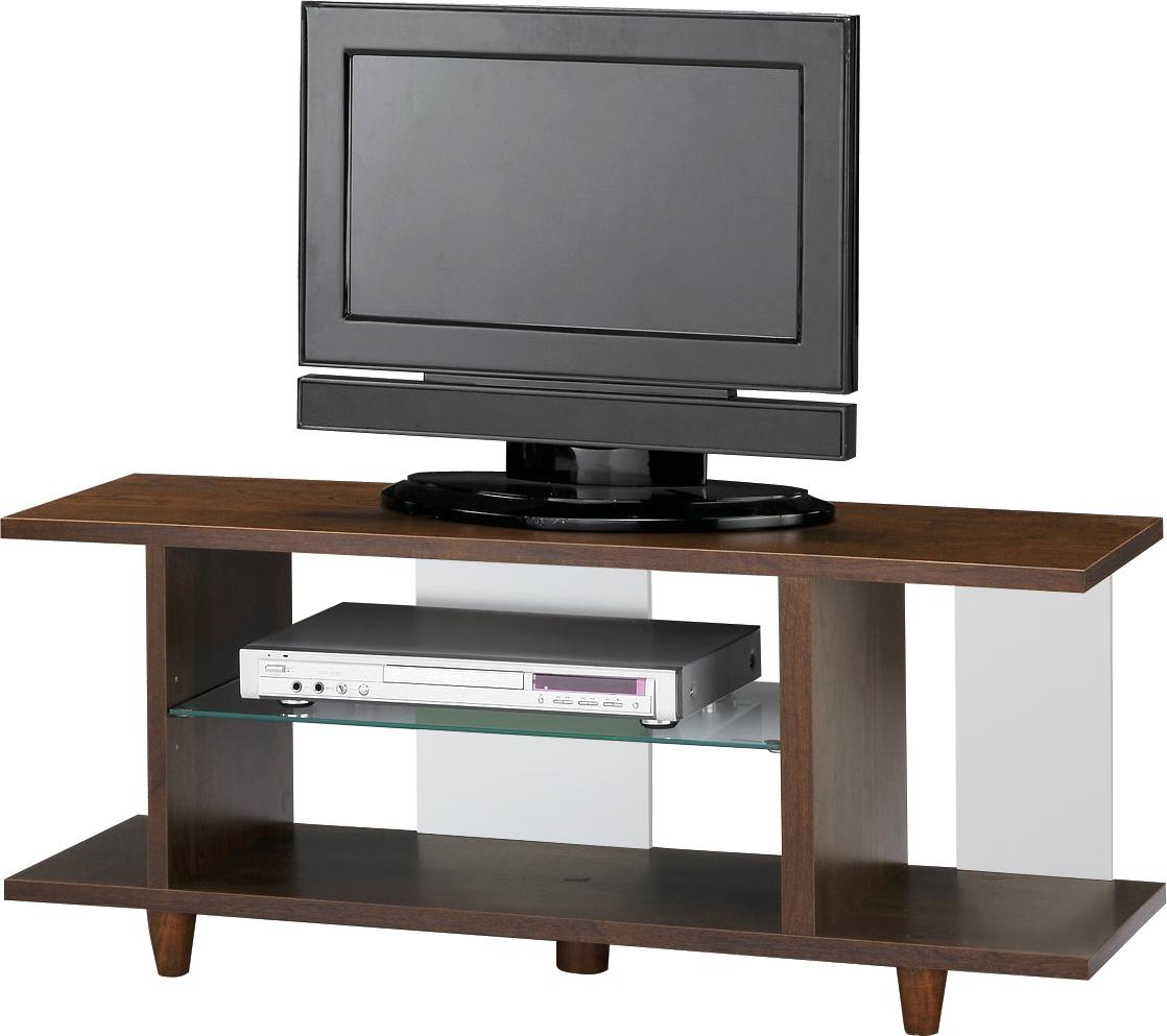 【即納可能】ツートンカラー105cm幅の激安テレビボード・ブラウンシェルフTV台2段