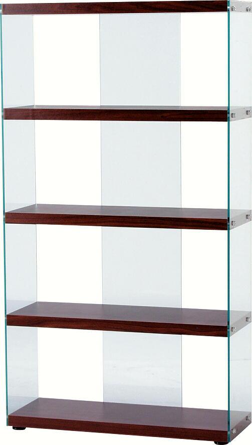 送料無料 代引き発送不可 ブラウン茶色83cm幅のガラスシェルフ・ブックシェルフ本棚ハイタイプ 棚板 ガラスシェルフ・ブックシェルフ本棚ハイタイプ おしゃれなグラスシェルフお洒落な飾り棚 側面と背面は透明の強化ガラス