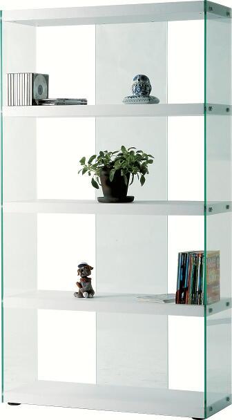 送料無料 代引き発送不可 白色棚板ホワイト色83cm幅のガラスシェルフ・ブックシェルフ本棚ハイタイプ おしゃれなグラスシェルフお洒落な飾り棚 側面と背面は透明の強化ガラス
