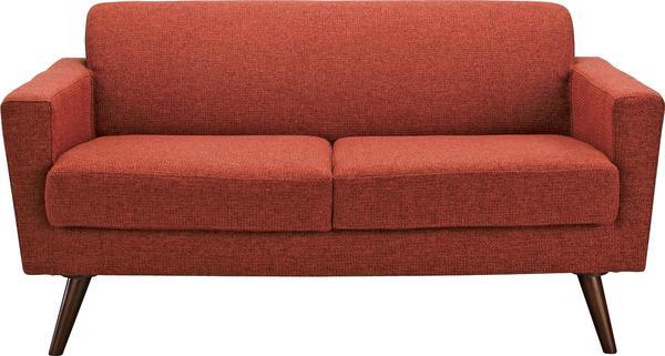 【送料無料】ミッドセンチュリー大人気Sバネクッション仕様のラブソファー赤色レッドあか肌触りの良いファブリック張り2P二人掛けソファーレトロデザイン2人掛けラブチェア