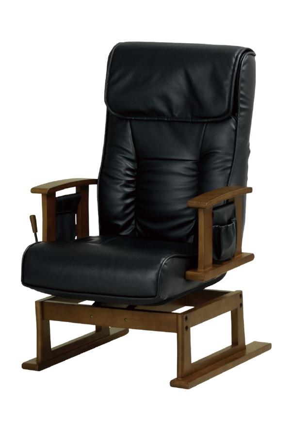 【送料無料】【即納可能】合成皮革回転式ハイバックチェア高座椅子回転リクライニングチェア合成レザー張りガス圧式無段階リクライニング1人掛けラウンドソファーらくらくチェア介護椅子リクライナー安楽椅子やすらぎチェア木製肘掛椅子1人掛け回転椅子パーソナル回転チェア