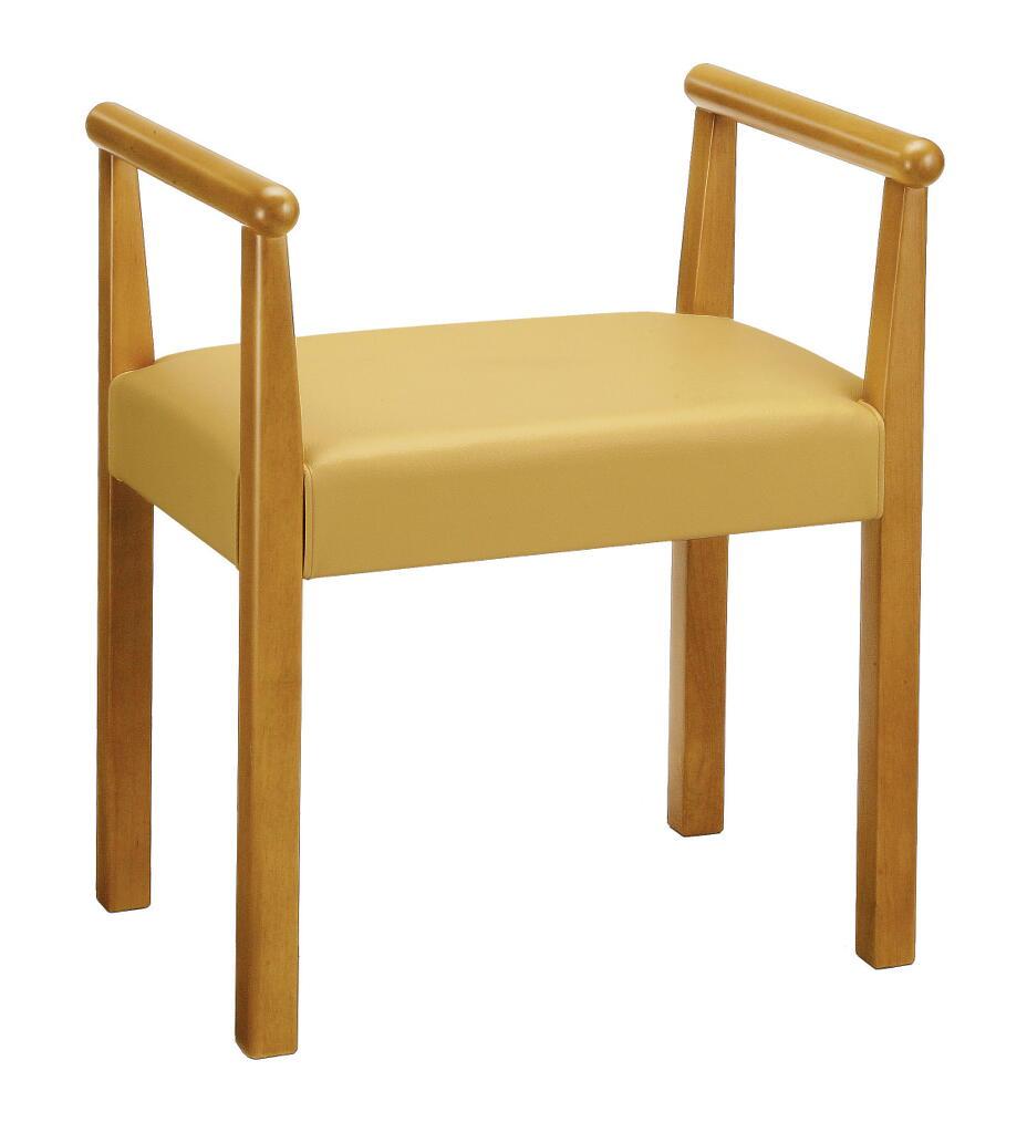 【送料無料】【即納可能】肘付き背もたれ無し高座椅子天然木マイアン材ひじ付きらくらく椅子肘付き1人掛けベンチ介護チェアーらくらく椅子玄関椅子玄関チェアー両肘椅子シルバー支援チェア木肘付き腰楽チェア立ち上がりサポートチェア立上がり支援サポート椅子黄色イエロー