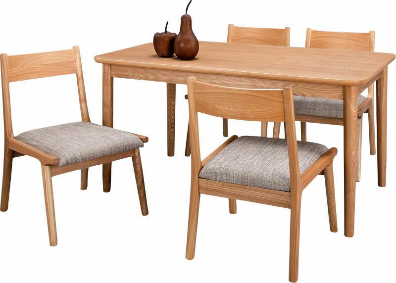 【送料無料/即納可能】 幅130cm×75cm×高さ64cm天板は天然木アッシュ材の突板張り/4本脚は無垢材ナチュラルウッド天然杢四人用ダイニングテーブルチェア5点セット4人掛け食卓テーブル椅子4脚セットカジュアル北欧カントリー食堂テーブルイスセット自然色NA低めのロータイプ