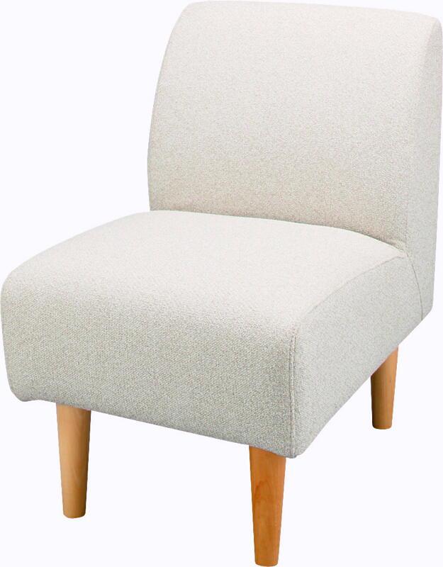 【送料無料 即納可能】アームレス型1人用ソファイス 肘無しチェア 天然杢ナチュラル脚一人用椅子モダン食卓チェアダイニング椅子カジュアル1人掛け椅子カバーが外せる1人掛けソファー パーソナルチェア北欧調カントリー色アイボリー肌ざわりの良い布地張りコンパクトタイプ
