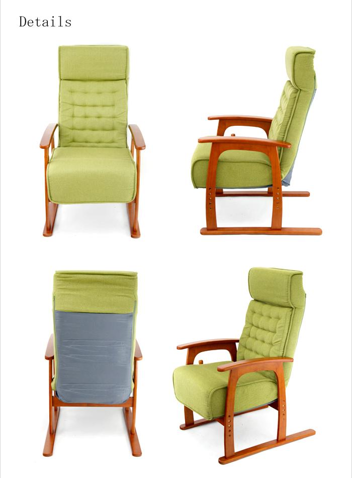 【送料無料】【即納可能】ポケットコイルばね式リクライニングチェア 弾力あるコイルバネ高座椅子 若葉 83-806 みどり緑色グリーン布地 無段階リクライニングチェア らくらくチェア 心地良い肘付きリクライナー 安楽椅子 大人気やすらぎチェア 枕付きリラックスチェア わかば