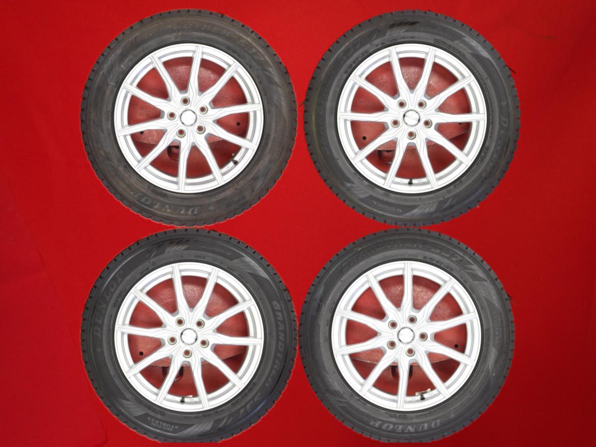 ww 中古 ホイール付きスタッドレスタイヤ 18インチ 4本セット ダンロップ 全国どこでも送料無料 グラントレック SJ7 DUNLOP GRANDTREK 235 60R18 107Q 5Wスポークタイプ 1P 5 RX270 銀色 450h シルバー +38 RX350 7.5Jx18 気質アップ RX 系 114.3