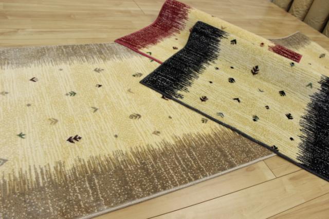 日本製高級デザイン廊下敷きカーペット/絨毯 【ギャベ】 幅67×長さ540cm