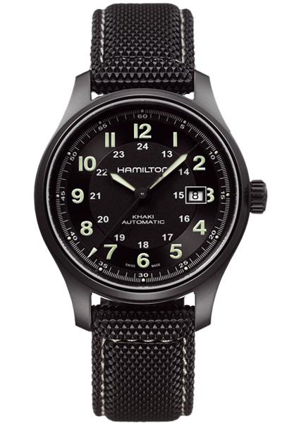 送料無料 HAMILTON ハミルトン 腕時計 カーキフィールドチタニウムオート42mm H70575733 メンズ 正規品 防水 機械式自動巻 カーキ ブラック ナイロンベルト オート ギフト 誕生日 プレゼント