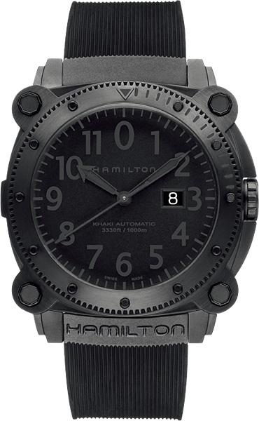 送料無料 HAMILTON ハミルトン 腕時計 カーキBeLOWゼロ 1000m防水 オートマチック ブラック Ref.H78585333 正規品 メンズ 防水 機械式自動巻 ブラック ラバーストラップ ブレスレット付き ダイバーズ ギフト 誕生日 プレゼント氏 彼