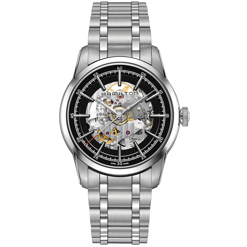 送料無料 HAMILTON ハミルトン 腕時計 レイルロードオートRailRoad Skeleton スケルトン Auto 自動巻き H40655131 国内正規品 メンズ 防水 シルバー ギフト 誕生日 プレゼント バレンタイン