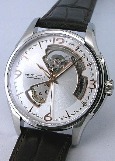 送料無料 HAMILTON ハミルトン 腕時計 ジャズマスタービューマチック オープンハート Ref.H32565555 正規品 メンズ 防水 アメリカンクラシック ブラック 皮ベルト オートマチック ギフト 誕生日 プレゼント氏 彼女 男性 女性 ラッピン