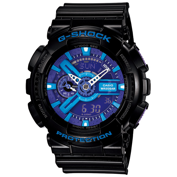 送料無料 CASIO カシオ G-SHOCK Gショック ジーショック Gショック 腕時計 メンズ Hyper Colors( ハイパー・カラーズ ) GA-110HC-1AJF 国内正規品 gshoc 防水 時計 新品 多機能 ワールドタイム ショックレジスト ブラック 黒 アナログ ブラック ブルー パープル