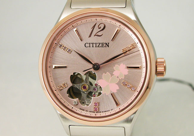 Citizen CITIZEN watch ladies limited edition model mechanical citizen collection automatic self-winding mechanical made in Japan PC1006-50X cherry blossom design limited model ladies watch watches limited waterproof crocodile leather replacement band wit