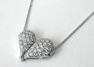 ダイヤモンドハート K18WGペンダントネックレス 0.65CT