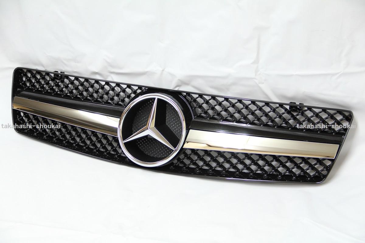 【組立完成品出荷】メルセデスベンツ SLクラス R129 フロントグリル 1フィンスタイル ブラック 黒 SL320 SL500 SL600 500SL