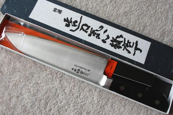 売れ筋サイズ 名匠 180mm 三徳包丁 ステンモリブテン鋼 重久 ツバ付き【領収書対応】