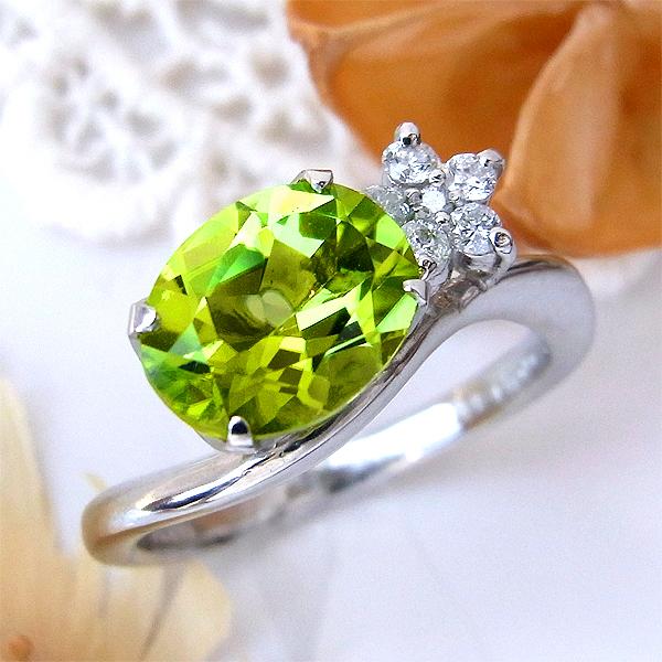 ファッションリング プラチナ PT ペリドット(8月誕生石) ダイヤモンド 指輪 mr168138 レディース パワーストーン ジュエリー 天然石 宝石 ダイア bkp 189000 お返し