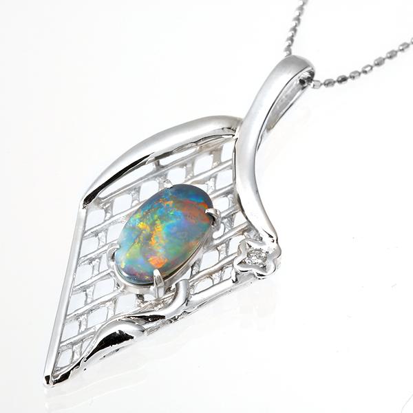 ネックレス K18(18金)WG ホワイトゴールド ボルダー オパール(10月誕生石) ダイヤモンド ペンダント 159 レディース パワーストーン ジュエリー 天然石 宝石 記念日 ダイアモンド 即納 間に合う 急ぎ お返し
