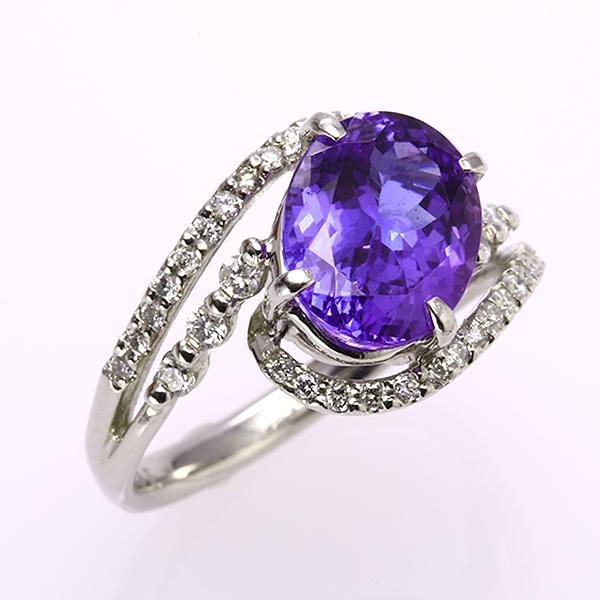 リング PT900 プラチナ タンザナイト 12月誕生石 ok-187435 指輪 鑑別書付き 2.95 ct 1石 ダイヤモンド レディース ファッションリング 大ぶり 即納 お返し