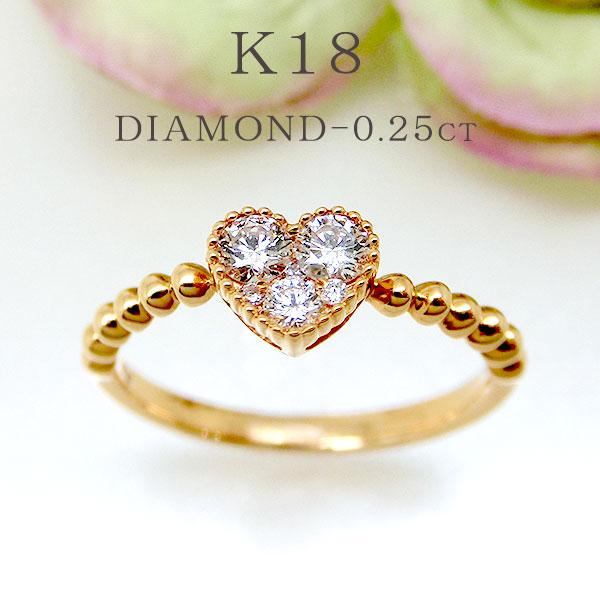 ハート 指輪 ダイヤ ファッションリング ハートモチーフ K18PG 18金ピンクゴールド ダイヤモンド ok194370sp レディース パワーストーン ジュエリー 天然石 宝石 1点もの お返し
