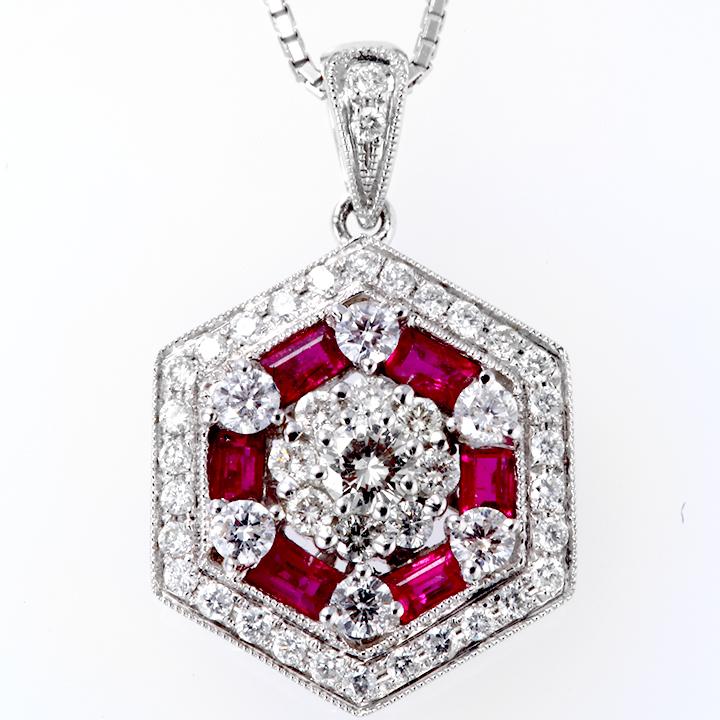 ネックレス K18(18金)WG ホワイトゴールド ルビー(7月誕生石) ダイヤモンド ペンダント pn229466 レディース パワーストーン 厄除けのお守り効果(赤色) ジュエリー 天然石 宝石 ダイア 即納 即納 間に合う 急ぎ bkp50 お返し