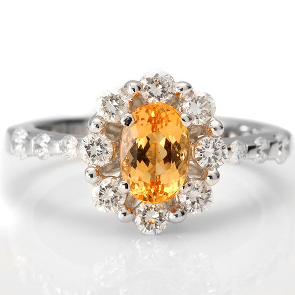 ファッションリング K18(18金)WG(ホワイトゴールド)インペリアルトパーズ(11月誕生石) ダイヤモンド 指輪 r-t802 パワーストーン ジュエリー 天然石 宝石 ダイアモンド 1点もの(bkp50)294000 お返し