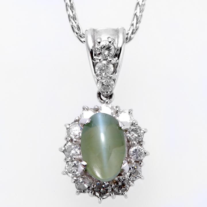 ネックレス プラチナ PT キャッツアイ ダイヤモンド ペンダント c1 レディース ダイヤ ジュエリー 天然石 宝石 ダイアモンド 315000 即納 間に合う 急ぎ お返し