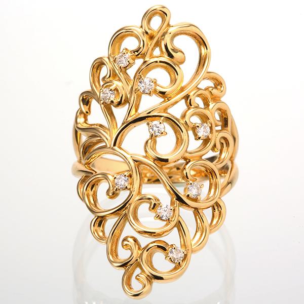 リング K18YG 18金 イエローゴールド ダイヤモンド 指輪 1501914 レディース ダイヤ 4月誕生石 ジュエリー ファッションリング アンティーク デザイン 天然石 宝石 透かし 1点もの お返し