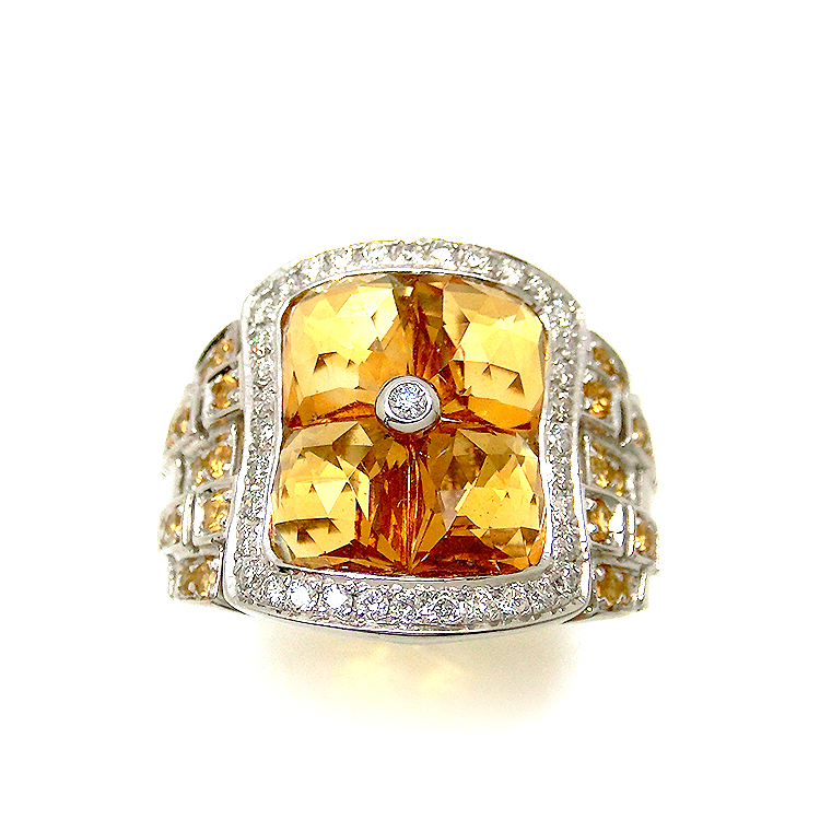 シトリン リング 指輪 K18WG 18金ホワイトゴールド ダイヤモンド mm2316309 4.5ct 四角 キラキラカット 11月誕生石 黄石 レディース 指輪 宝石 ジュエリー ダイヤ 即納 1点物 bkp50 お返し