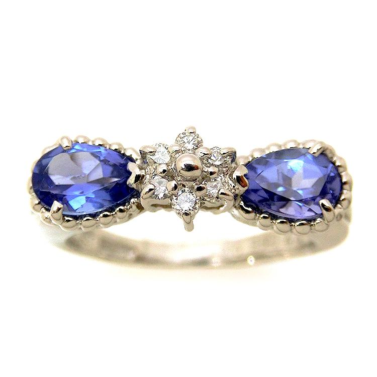 タンザナイト リング 指輪 PT900 プラチナ ダイヤモンド ダイヤ 指輪 レディース 12月誕生石 リボン フラワー 花 天然石 ジュエリー mr1159290 お返し