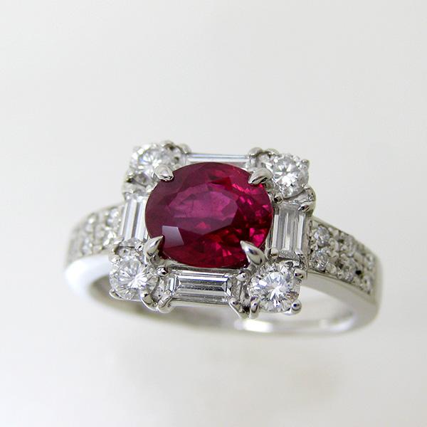 リング ルビー PT900 プラチナ900 ok150130010 レディース 指輪 色石 ダイヤモンド ジュエリー 宝石 誕生石 ゴージャス 鑑別書 1点もの 690000 お返し