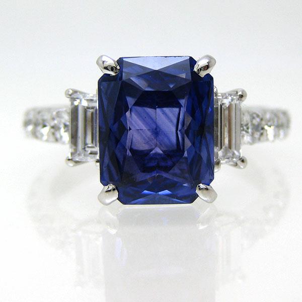 リング サファイア 9月誕生石 PT900 プラチナ900 ok-195865 レディース 指輪 色石 大石 スクエアカット ダイヤモンド ジュエリー 宝石 誕生石 ゴージャス 鑑別書 1点もの bkp50 お返し
