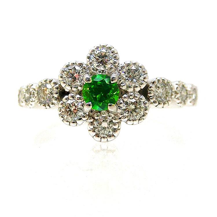 PT プラチナ デマントイドガーネット(1月誕生石) ダイヤモンド 指輪 レディース ファッションリング パワーストーン ジュエリー 天然石 宝石 ダイアモンド 1点もの 花 フラワー 227022 323000 お返し