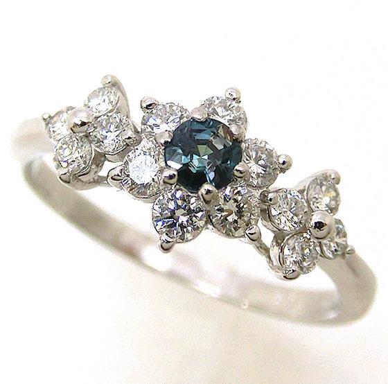 プラチナ アレキサンドライト pt900 ダイヤモンド 指輪 花 フラワー ファッションリング alo15422 レディース ジュエリー 天然石 宝石 お返し