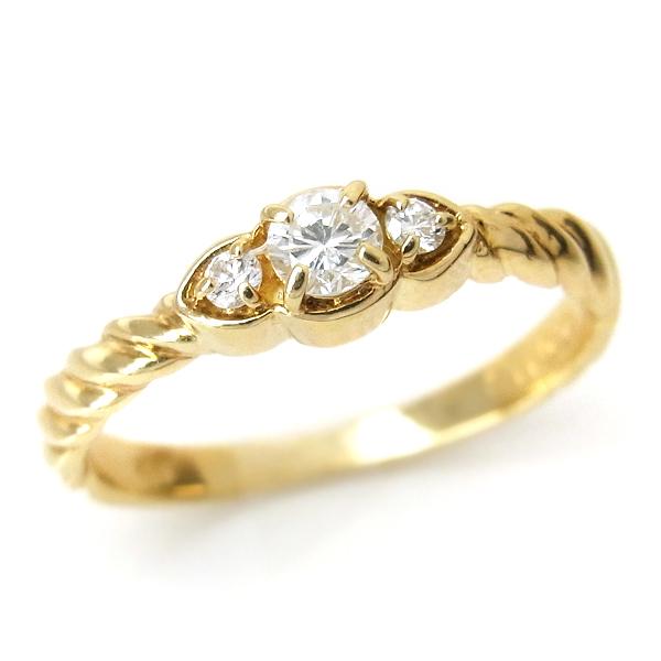 K18(18金) ゴールド YG ダイヤモンド 指輪 s10 レディース ダイヤ(4月誕生石) ジュエリー 天然石 宝石 ダイアモンド ファッションリング 1点もの お返し