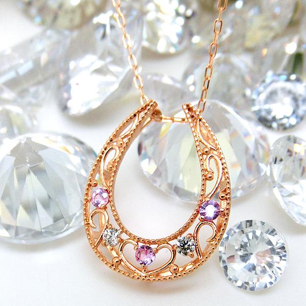 ネックレス ペンダント ダイヤモンド 4月誕生石 ピンクサファイア 9月誕生石 K10PG(10金ピンクゴールド) レディース ジュエリー 宝石 yk-15ps ダイアモンド 即納 間に合う 急ぎ お返し