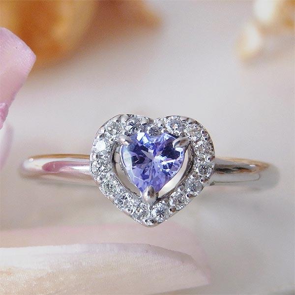 ファッションリング K18(18金)WG ホワイトゴールド タンザナイト(12月誕生石) ダイヤモンド ハート 指輪 s287561 レディース パワーストーン ジュエリー 天然石 宝石 ダイアモンド ラスト1点 お返し