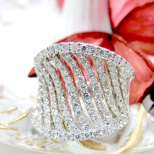 リング K18(18金) WG ホワイトゴールド ダイヤモンド 指輪 s01162832 レディース ジュエリー 天然石 宝石 ダイヤモンド 透かし 1点もの 4月誕生石 ユニーク デザイン お返し