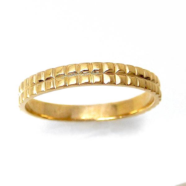 【お見積り商品】地金リング 指輪 レディース メンズ キューブ ブロック アイスキューブ 四角 重ね付け風 ペアリング マリッジリング 結婚指輪 ニッケルフリー 10金ゴールド 地金カラー全3色 yk-286 K10 お返し 格子柄 ライン ふっくら 父の日