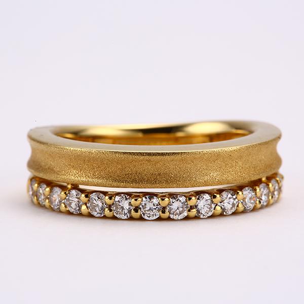 リング ダイヤモンド K18YG 指輪 イエローゴールド kine-392856 上質 マット(艶消し) シンプル エタニティ 2本重ね ボリュ-ム感 爪 引っかかりにくい 日常使い 1点もの 4月誕生石 お返し