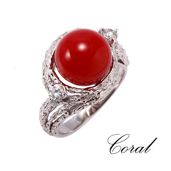 リング 珊瑚(サンゴ) PT900(プラチナ) ok199648 レディース 指輪 ジュエリー レディース 宝石 1点もの お返し