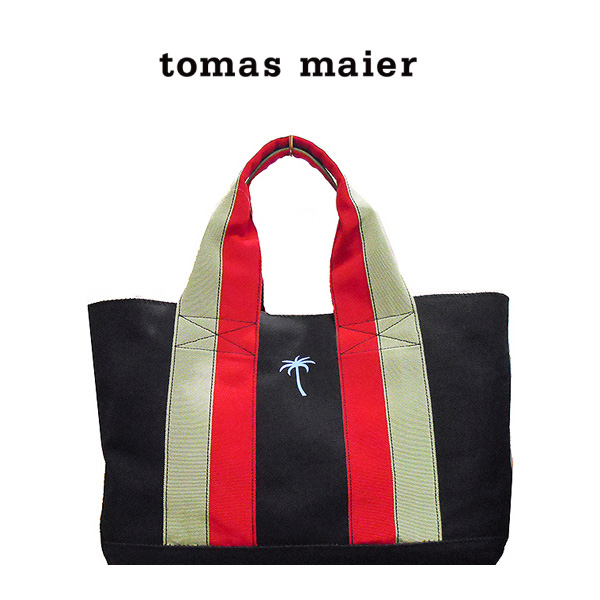 トートバッグ Tomas Maier トーマス マイヤー バッグ ママバッグ マザーズバッグ 大容量 通勤 通学 キャンバス シンプル バッグ 362854nvヤシの木 ワンポイント 即納 間に合う 急ぎ お返し