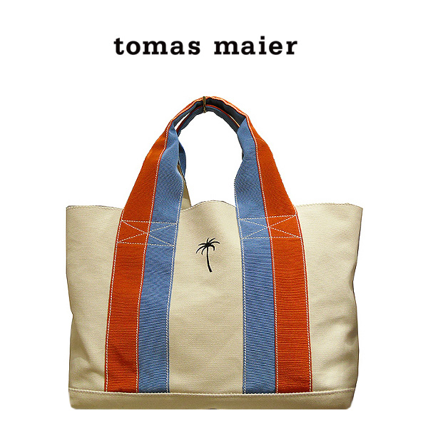 トートバッグ Tomas Maier トーマス マイヤー バッグ ママバッグ マザーズバッグ 大容量 通勤 通学 キャンバス シンプル バッグ 362854whヤシの木 ワンポイント ボタニカル 即納 間に合う 急ぎ お返し