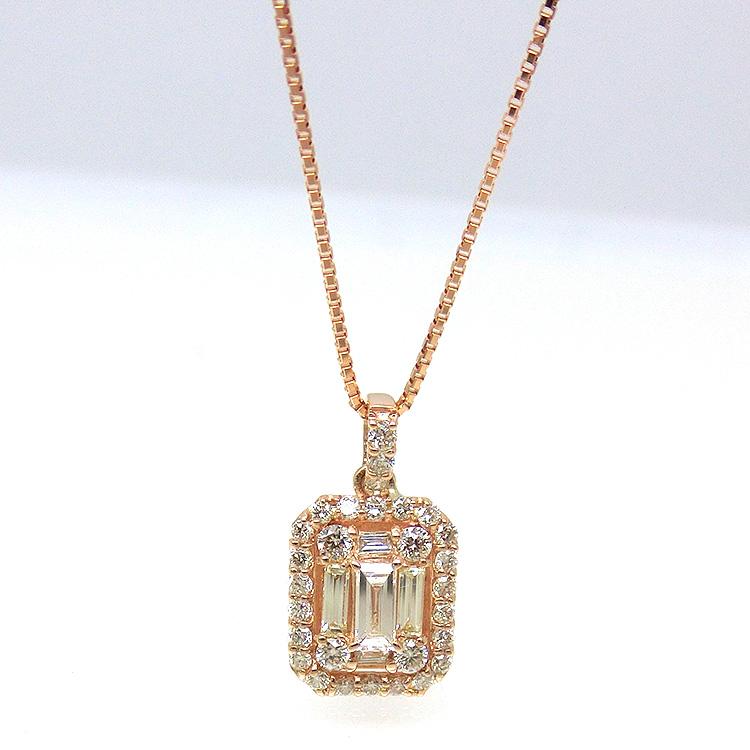 ネックレス ダイヤモンド ペンダント18金ピンクゴールド K18PG 4月誕生石 mr1147554 レディース スクエアモチーフ 即納 間に合う 急ぎ お返し