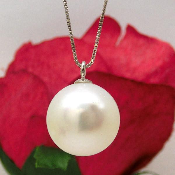 K18WG 南洋 真珠 ネックレス 14.1mm パール レディース ジュエリー 宝石 18金 ホワイトゴールド ok232851 即納 間に合う 急ぎ お返し