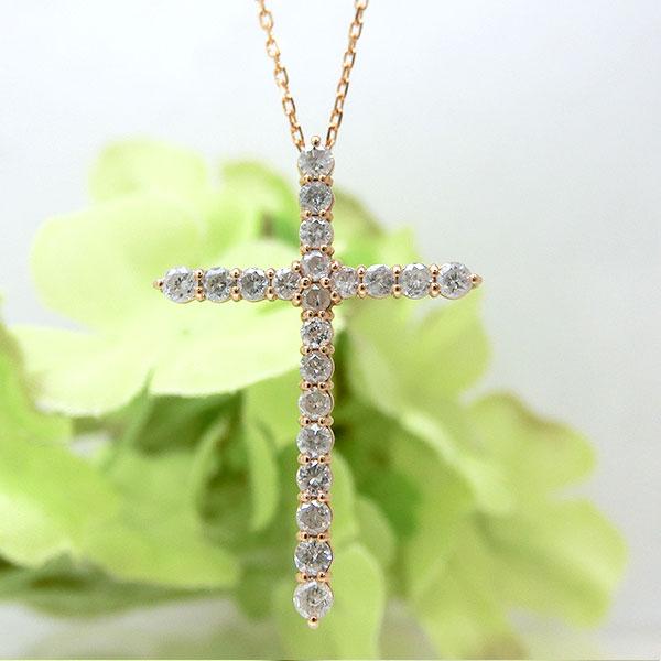 クロスモチーフ ダイヤモンド ペンダント ネックレス 十字架 18金ピンクゴールド ダイヤ ta10102980 レディース 4月誕生石 ジュエリー 天然石 宝石 記念日 ダイアモンド 送料無料 即納 間に合う 急ぎ お返し