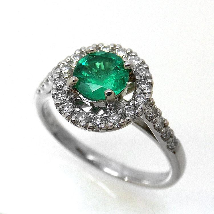 指輪 エメラルド リング プラチナ PT ダイヤモンド eme078989 レディース ジュエリー 天然石 宝石 パワーストーン サークル 5月誕生石 お返し